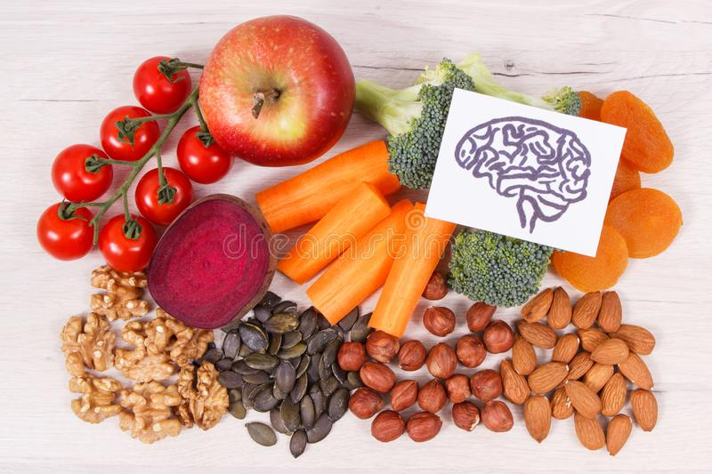 Drawing of brain and healthy food for power and good memory, nutritious eating containing natural minerals. Drawing of brain and healthy food for power and good stock photography