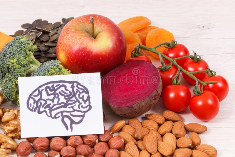Drawing of brain and healthy food for power and good memory, nutritious eating containing natural minerals stock photos