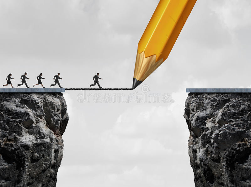 Drawing A Bridge. And conquering adversity business concept as a group of people running from one cliff to another with the help of a pencil line sketch as a