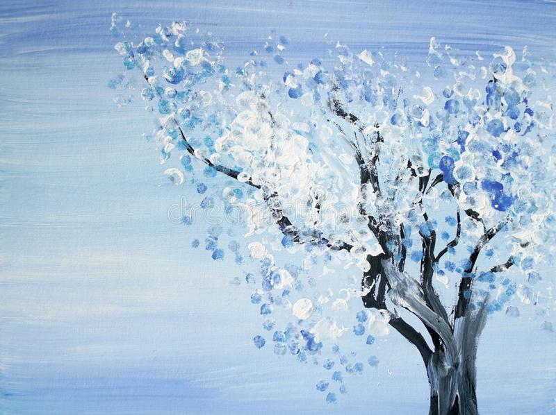 Drawing Of Bright Winter Tree Covered By Snow Stock ...