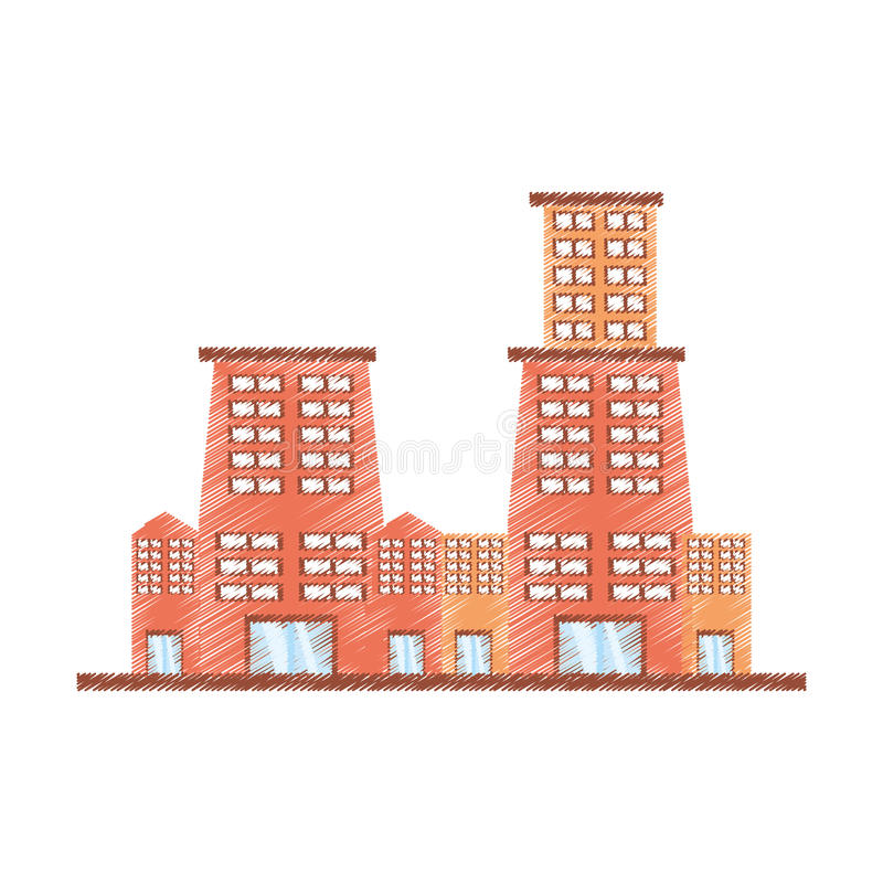 Drawing building contemporary city. Illustration eps 10 royalty free illustration