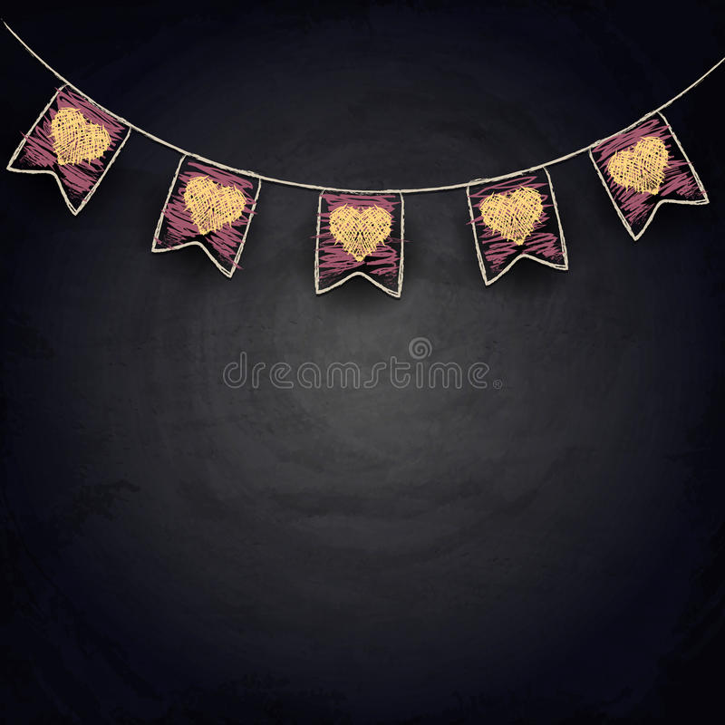 Drawing bunting flags with hearts on blackboard. Valentine day illustration stock illustration