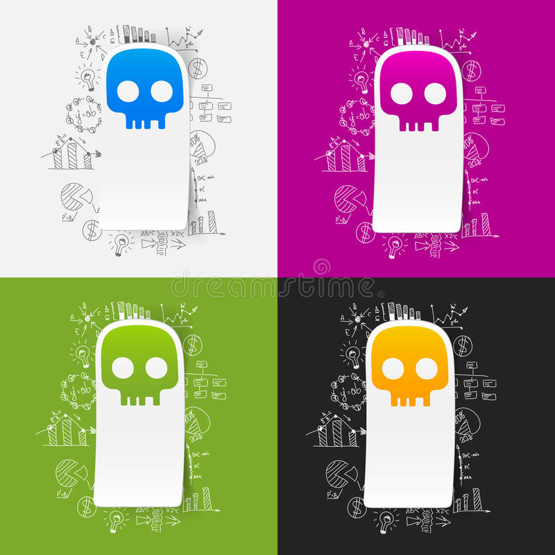 Drawing business formulas. skull. It is a drawing business formulas. Set of 4 vector illustrations of skull vector illustration