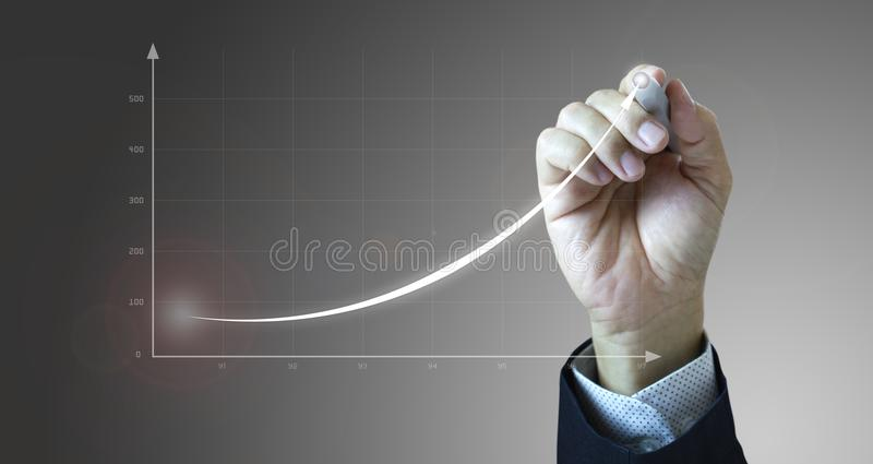 Drawing business growth and rapid success vector illustration