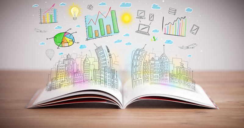 Download Drawing Of A Business Scheme On An Opened Book Stock Photos - Image: 35559003