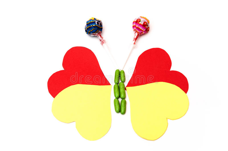 Download Drawing Of A Butterfly With Hearts And Candy Stock Image - Image of celebration, beautiful: 39502765
