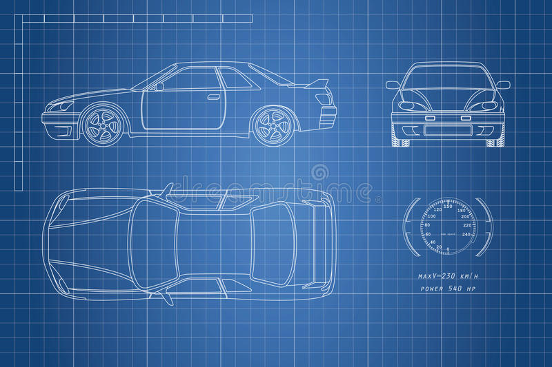 Download Drawing Of The Car On A Blue Background. Top, Front And Side View