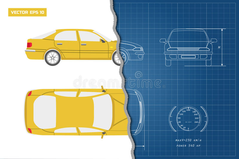 Drawing of the car on a blue background top front and side view download drawing of the car on a blue background top front and side view malvernweather Gallery