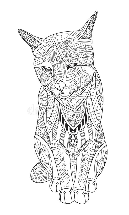 Drawing cat for the coloring book for adults. Vector illustration in zentangle style. on white background vector illustration