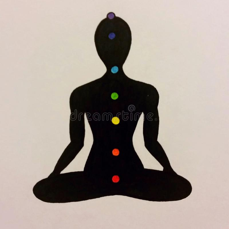 Drawing of chakras. A drawing of the representation of the placement of chakras on the human body stock photo