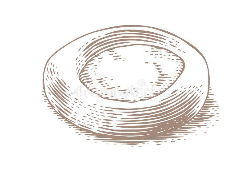 Drawing of cheesecake. Drawing of isolated fresh cheesecake on the white background royalty free illustration