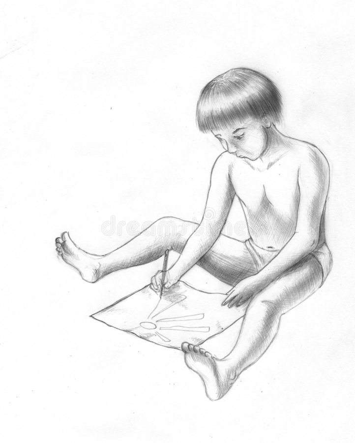 Download Drawing child stock illustration. Image of short, picture - 7336435