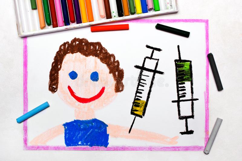 Drawing: Child vaccination. Smiling boy and syringe. royalty free stock images