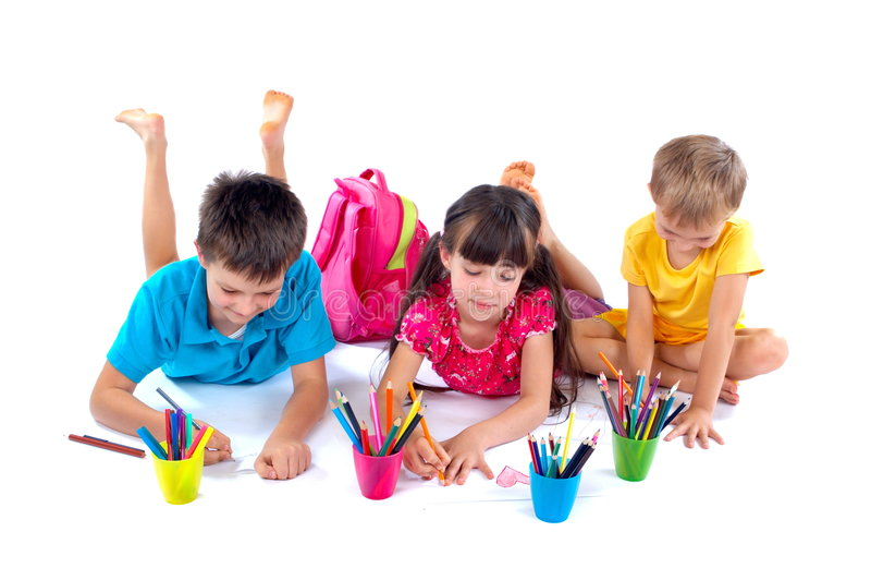 Drawing children stock photo