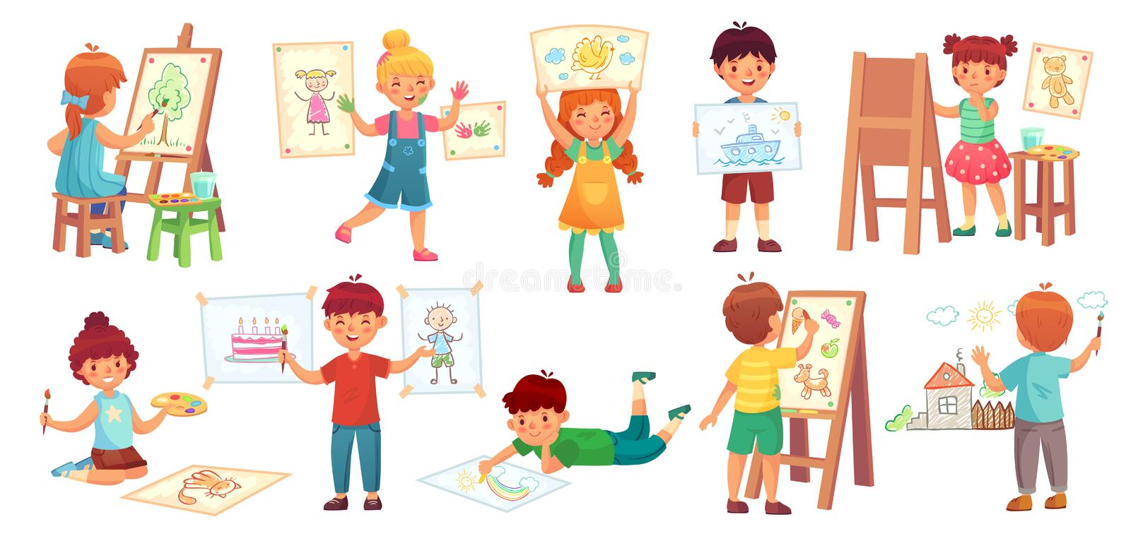 Drawing children. Kid illustrator, baby drawing play and draw kids group cartoon vector illustration stock illustration