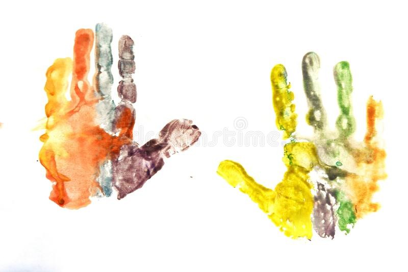drawing of children& x27;s palms royalty free stock photography