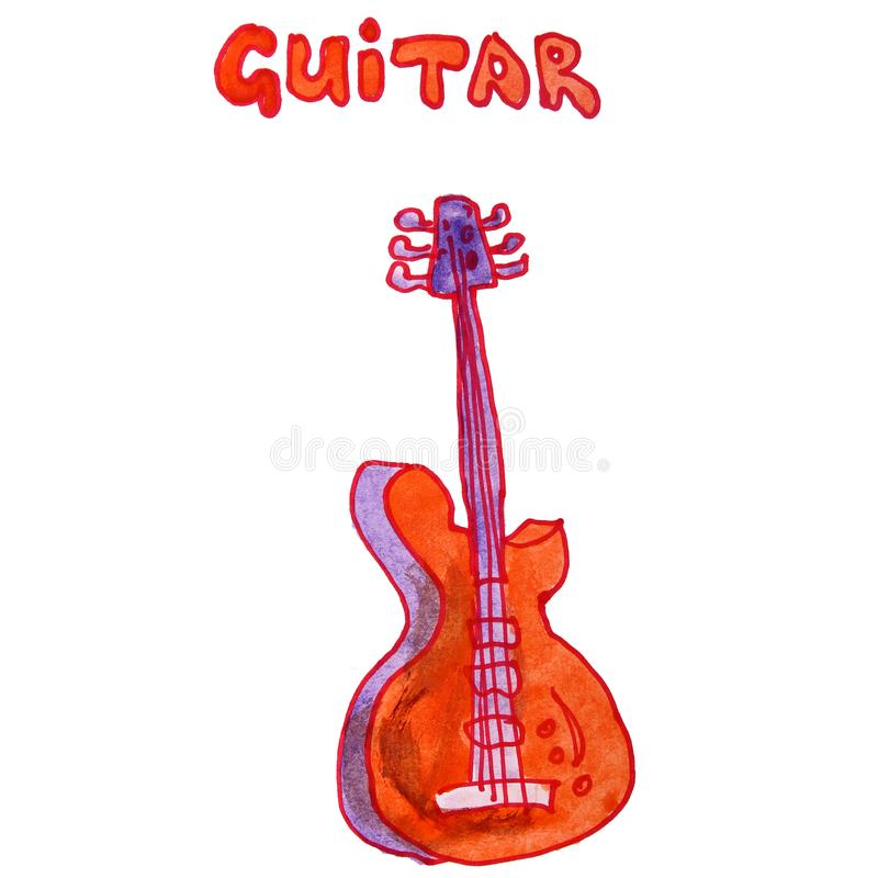 Drawing children watercolor guitar, orange cartoon on a white ba royalty free illustration