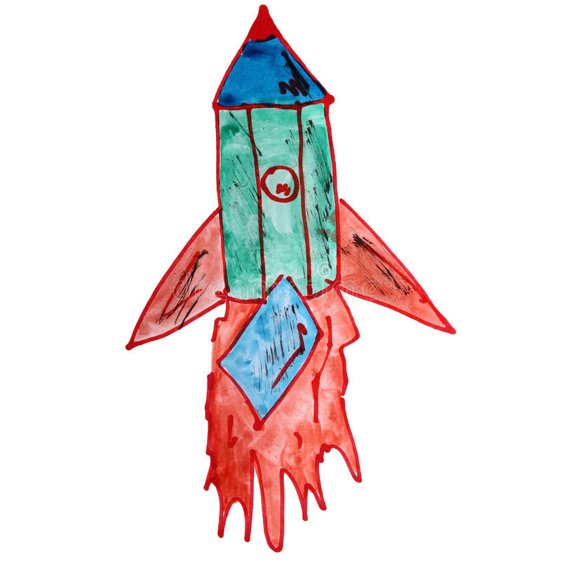 Drawing a children watercolor rocket, green, red stock illustration