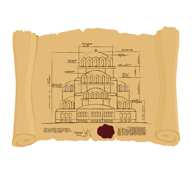 Drawing of Church Of St. Alexander Nevsky of ancient scroll. Retro Scheme of ancient Cathedral. Old building of project. royalty free illustration