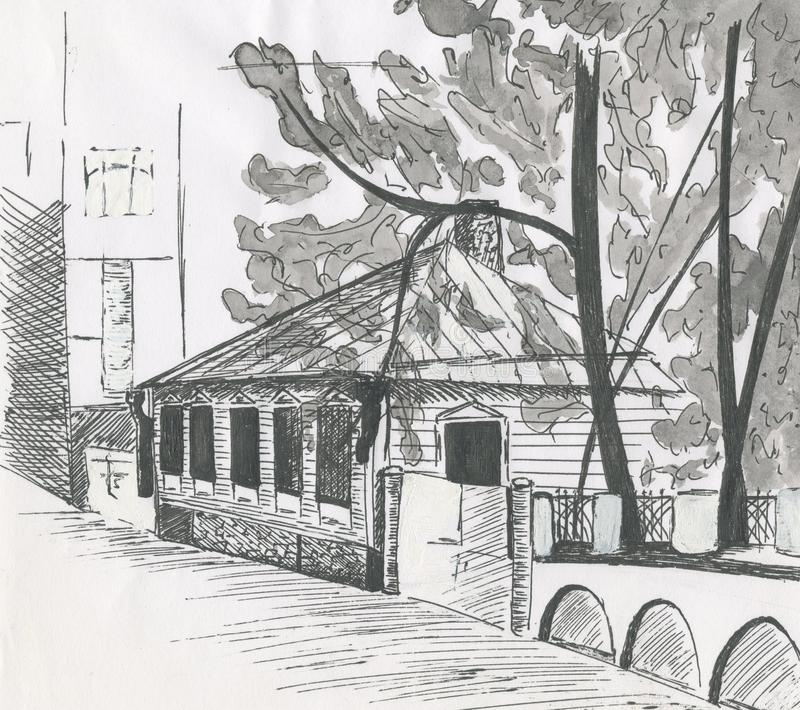 city landscape houses sketch house roof ink drawing stock