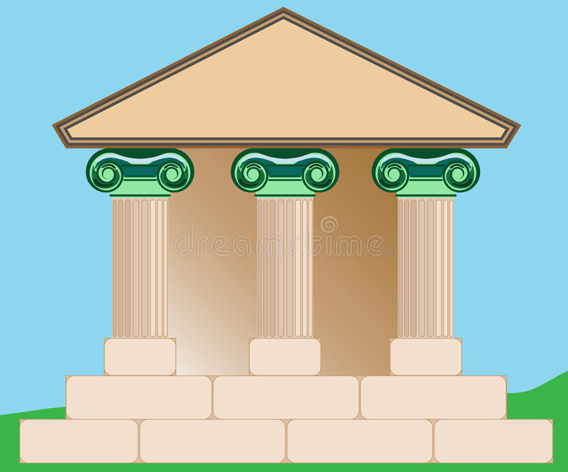 Drawing of Classical Building. Drawing of a strong, durable building with Ionic, fluted columns that reflect strength and would be appropriate for banking royalty free illustration