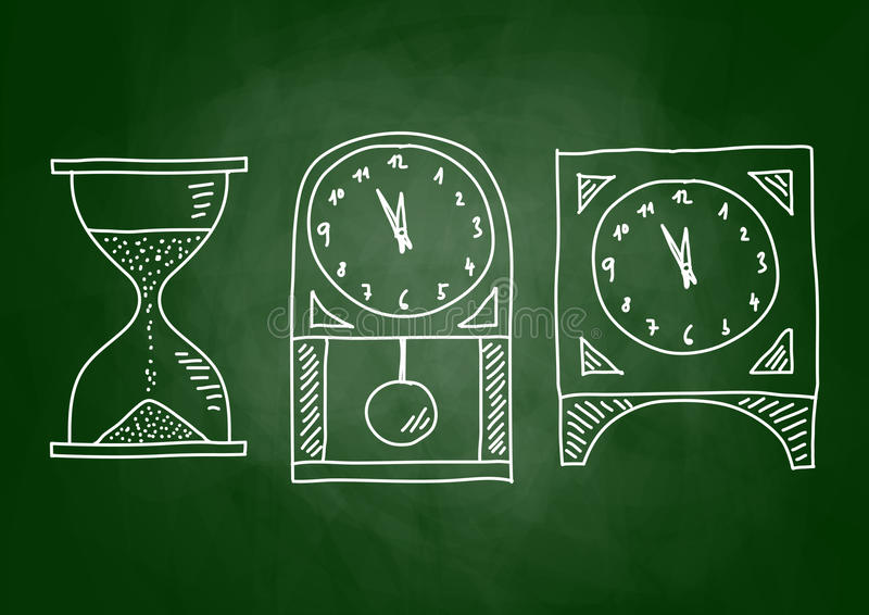 Drawing of clocks. On blackboard stock illustration