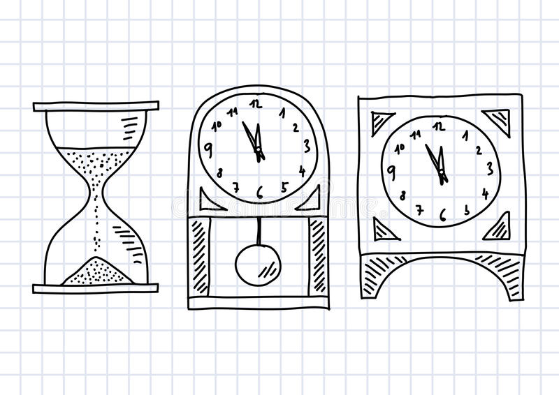 Drawing of clocks. On squared paper stock illustration