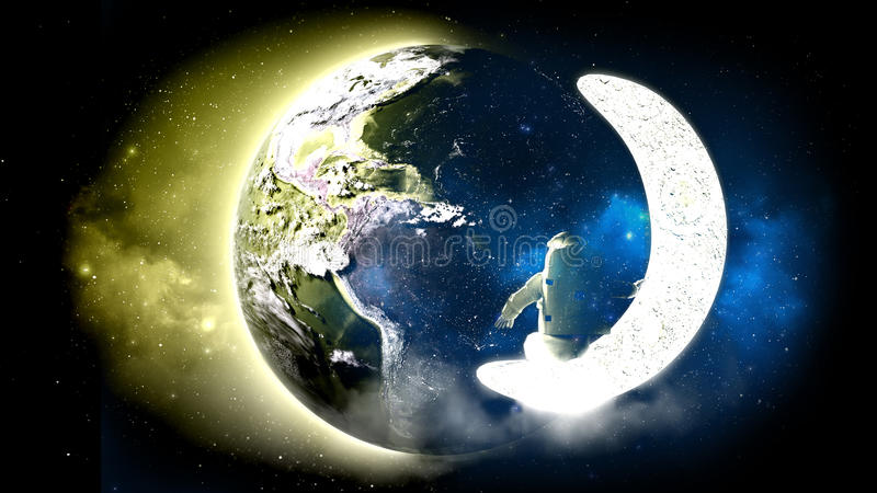 Drawing on clothes astronaut looks at the earth from the moon Elemen ts of this image furnished by NASA 3d render vector illustration