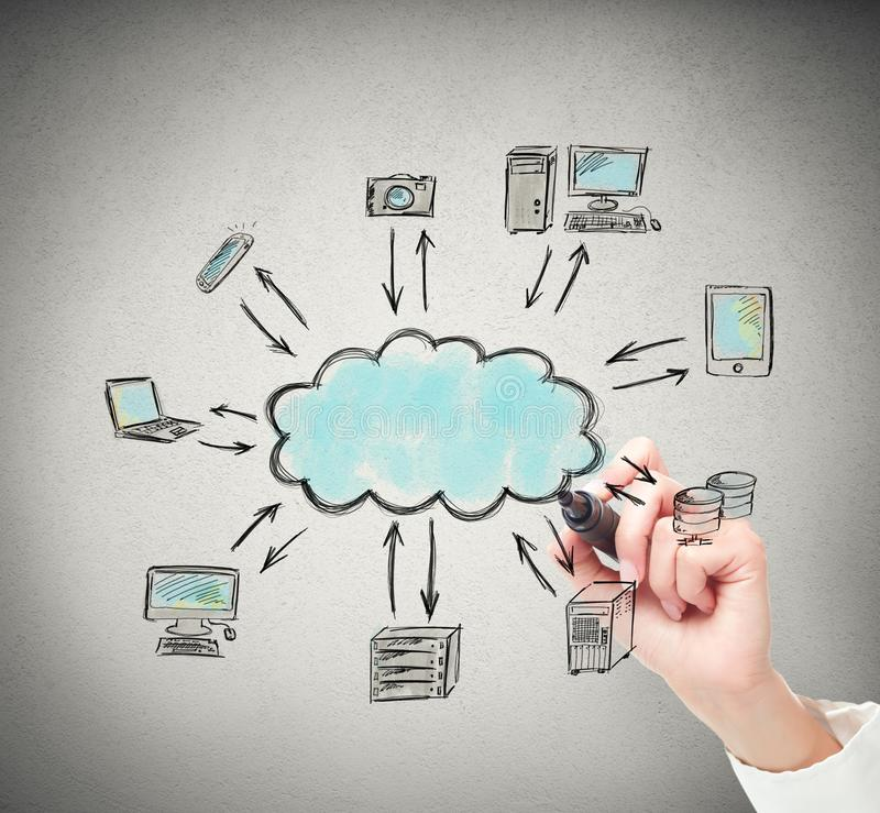 Drawing a cloud computing solution. Businessperson drawing a complete cloud computer solution stock illustration