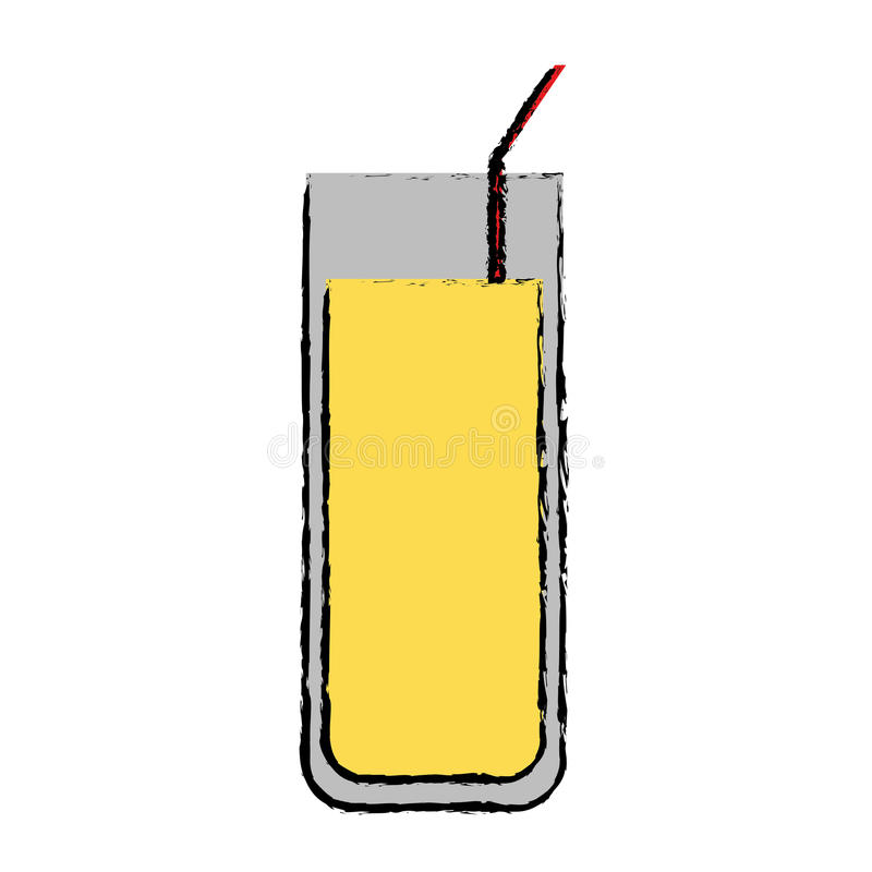 Drawing cocktail glass cup party straw. Vector illustration eps 10 vector illustration