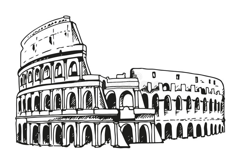 Drawing Of Coliseum, Colosseum Illustration In Rome, Italy