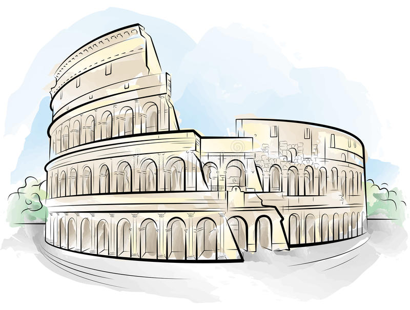 Drawing Color Colosseum, Rome, Italy Stock Vector