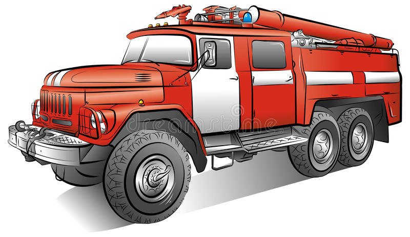 Drawing of color fire-engine royalty free illustration