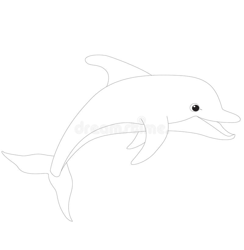 coloring book d for dolphin stock image