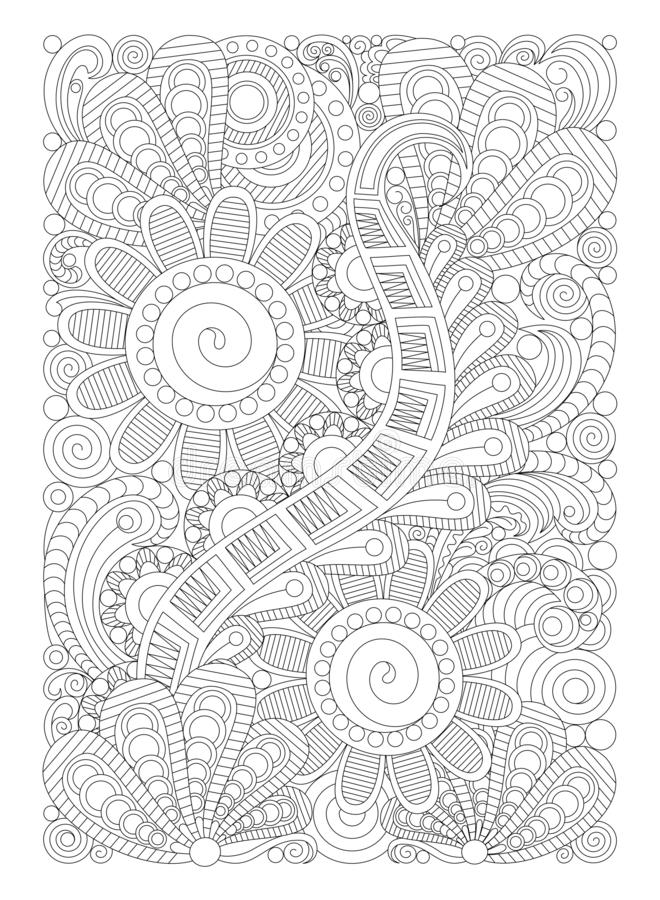 Zentangle coloring page for adults, antistress, abstract illustration, graphic patterns. Drawing for coloring in the style of zentangle, antistress therapy for vector illustration