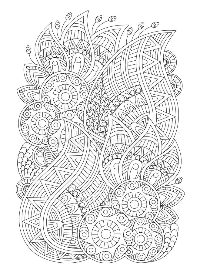 Zentangle coloring page for adults, antistress, abstract illustration, graphic patterns. Drawing for coloring in the style of zentangle, antistress therapy for royalty free illustration