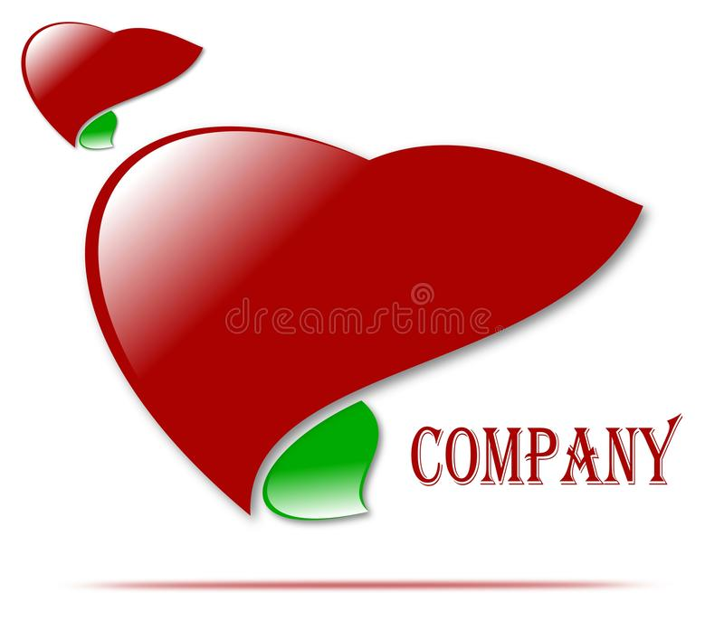 Drawing company logo of health and love, medicine. vector illustration