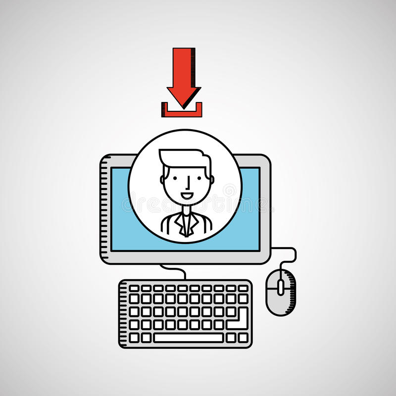 Drawing computer pc photo download. Vector illustration eps 10 stock illustration