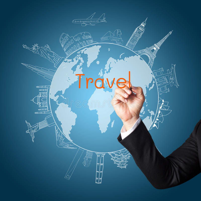 Download Drawing The Concept Travel Around The World Royalty Free Stock Image - Image: 25623546