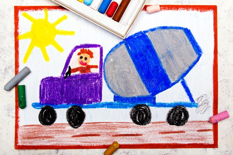 Drawing: Concrete Mixer Delivery Truck. Colorful Hand Drawing: Concrete Mixer Delivery Truck royalty free stock image