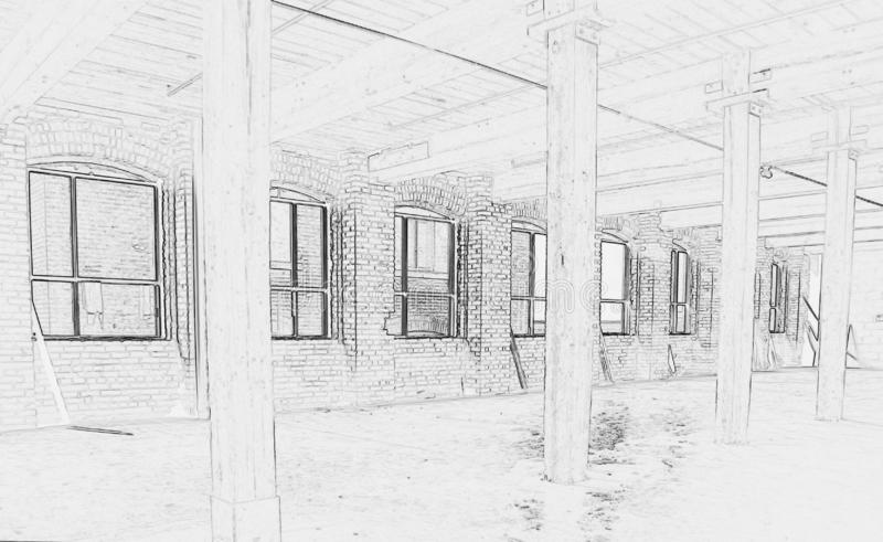 Drawing of Construction Site - Interior #1. Black and white drawing of construction site - Interior of new space for office in Downtown Toronto vector illustration