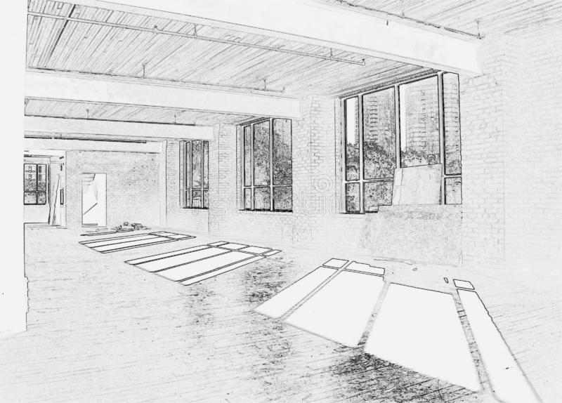 Drawing of Construction Site - Interior #2. Black and white drawing of construction site - Interior of new space for office in Downtown Toronto vector illustration