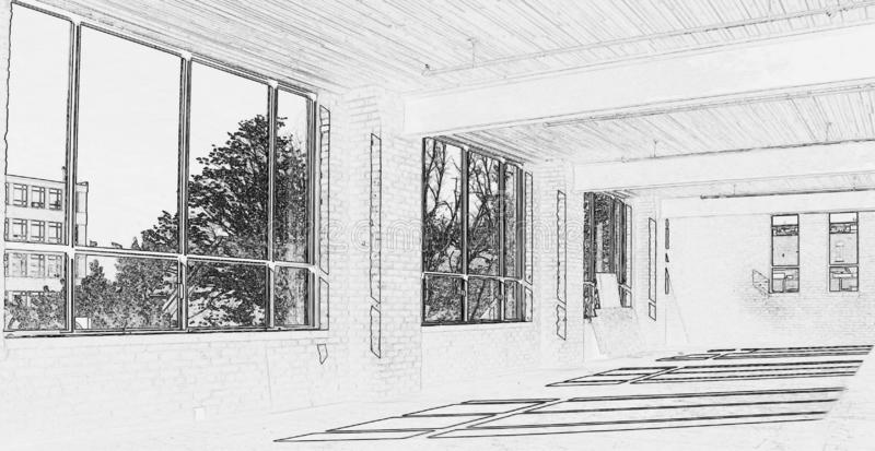 Drawing of Construction Site - Interior #3. Black and white drawing of construction site - Interior of new space for office in Downtown Toronto royalty free illustration
