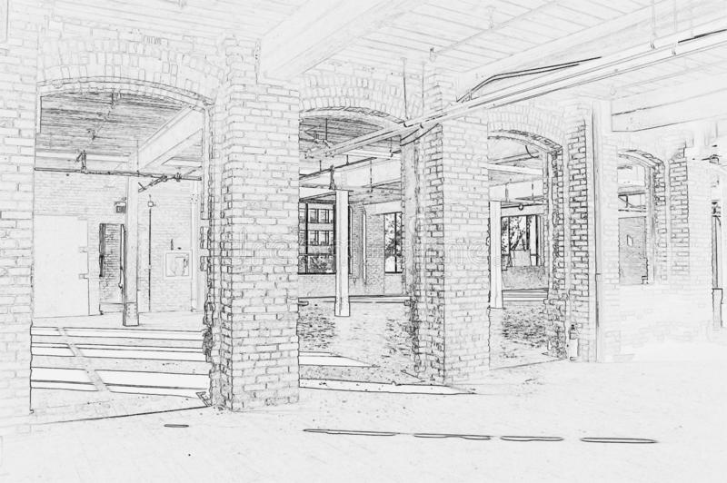 Drawing of Construction Site - Interior #4. Black and white drawing of construction site - Interior of new space for office in Downtown Toronto vector illustration