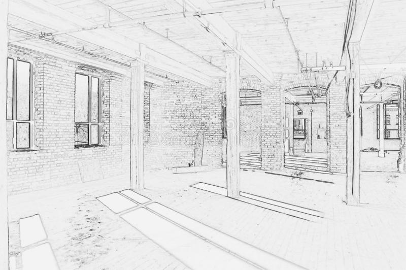 Drawing of Construction Site - Interior #5. Black and white drawing of construction site - Interior of new space for office in Downtown Toronto royalty free illustration