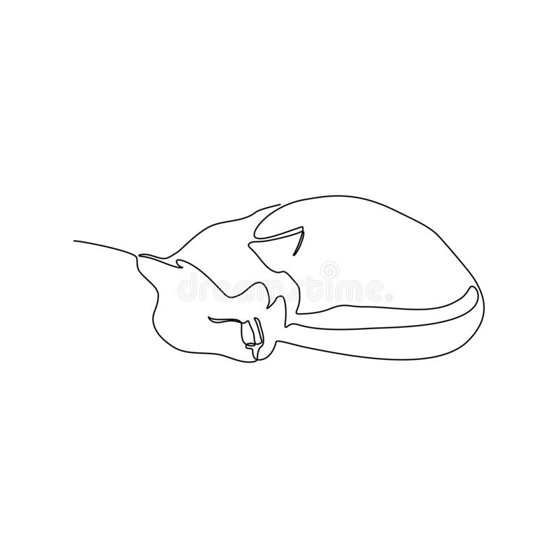 Drawing a continuous line of a sleeping cat. royalty free illustration