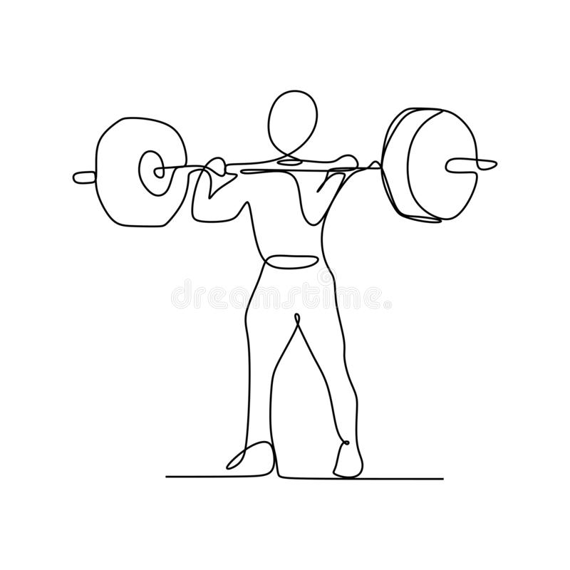 Drawing of a continuous line of weightlifting exercise. Vector muscle fitness athlete one illustration athletic gym silhouette strong strength barbell lifestyle stock illustration