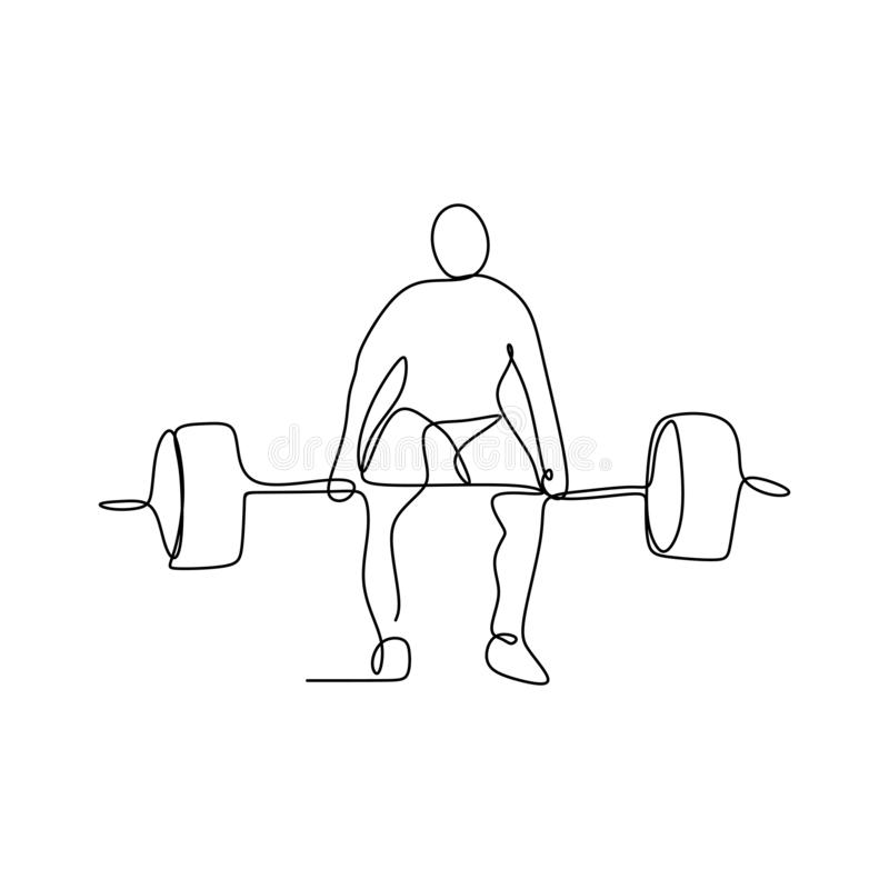 Drawing a continuous line of weightlifting position. Vector muscle fitness athlete one illustration athletic gym silhouette strong strength barbell lifestyle royalty free illustration