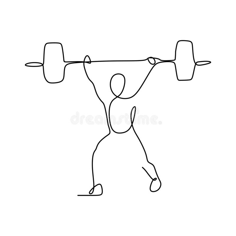 Drawing a continuous line of weightlifting position. Vector muscle fitness athlete one illustration athletic gym silhouette strong strength barbell lifestyle stock illustration
