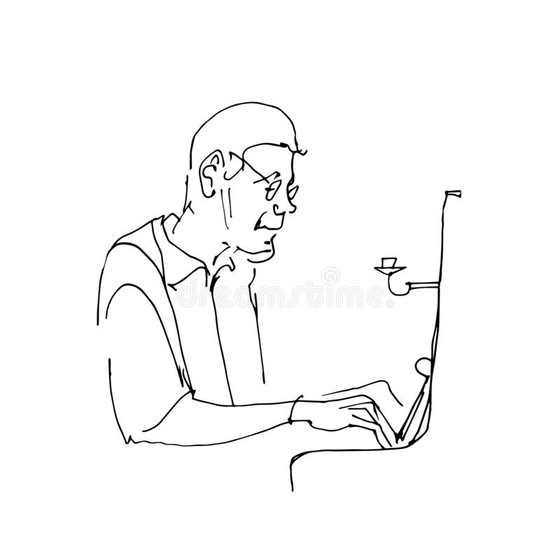 Drawing contour of piano player. Pianist sitting at the piano. Classical musician silhouette. Black lines on white royalty free illustration